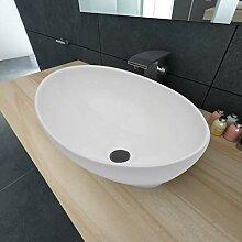 E E-NICES Keramik Waschbecken Oval Weiß 40 x 33 cm