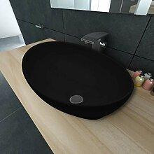 E E-NICES Keramik Waschtisch Waschbecken Oval