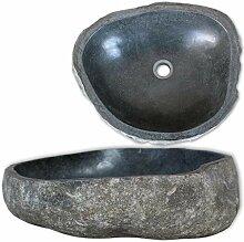 E E-NICES Waschbecken Flussstein oval 46-52 cm