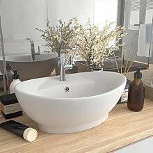 E E-NICES Waschbecken Überlauf Oval Matt-Weiß