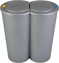 E&K Duo Bin Abfalleimer 2x 25L Mülltrenner Mülleimer Müllsammler Abfallsammler