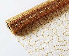 E+N Tischband Tischläufer Pailetten Gold BxL:30cm