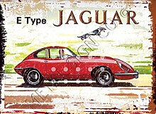 E Type Jaguar-Design BLECHSCHILD, Retro-Look, Vintage-Stil, GROSS, 30,5 X 40,6 CM, GARAGE, 30 X 40 CM