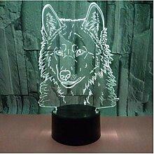 E Wolf 3D Lampe 7 Farbänderungen Touch 3D
