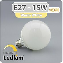 E27 G95 LED Globe 15W 1320GPD - warmweiß 3000k -