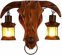 E27 Innen-Wandleuchte Vintage Wandlampe Holz