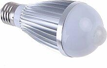 E27 LED-Lampe Kappe - TOOGOO(R) 7W Menschen Lampe mit Sensor E27 Kappe Drahtlose LED Gluehbirne (weiss)