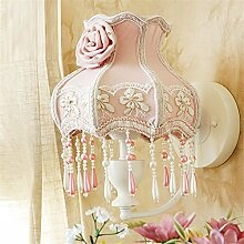 E27 modernes Europäisches Stil Pastoral Style Fabric Lace Lampenschirm Eisen Fassung Mauer Lampe Zimmer Mädchen ' Romatic Rose Decor Princess cute Mauer Licht innen zuhause Dekor Wandlampen,Pink