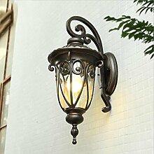 E27 Outdoor Tür Wandleuchte Traditionelle Stil Gebürstete Outdoor Garten Sicherheit Regen und Sonnenschutz Wandleuchte