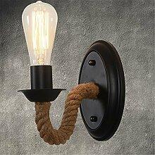 E27 Retro Industrie Seil Wandleuchte Creative Aisle Garage Keller Mauer Licht Home Dekoration Indoor Iron Wand Wandlampen,Black