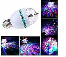 E27 RGB LED Discokugel 3W Rotierend Disco Party