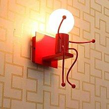 E27 Wandbeleuchtung Industrie Retro Design Kinder Wandlampe Vintage Karikatur LED Wandleuchte Kreative Metall Edison Innen Einstellbar für Bar Schlafzimmer Küche Restaurant Café Flur Max. 40 W , Rot-1