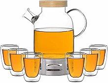 ea4chill Glas-Teekanne 1,6l mit Holzdeckel und