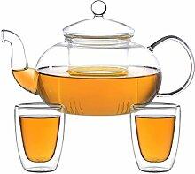 ea4chill Teeset Melina 1,3 Liter. Glas-Teekanne