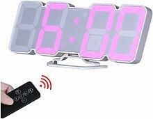 EAAGD 3D drahtlos fernbedienbare Digital Wecker & Wanduhr– LED Zahlen mit 115 wechselbare Farben, Sprachbedienungs-modus, 3-stufige einstellbare Helligkeit, mit Ferbedienung (Weiß)