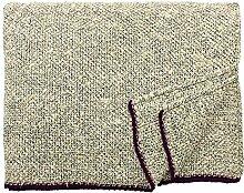 Eagle Products: Große beige-schwarze Seiden Wolldecke 15% Schurwolle-85% Seide, 160x200cm mit burgundvioletten Kanten