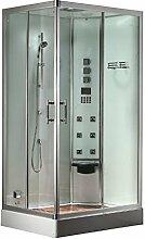 EAGO Dampfdusche DZ954F8 weiß/100x80/rechts