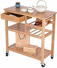 ease Küchenwagen auf Rollen Bambus Servierwagen