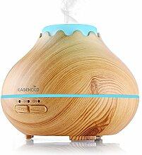 Easehold 150ML Aroma Diffuser, Holzmaserung Luftbefeuchter Oil Düfte Humidifier Holzmaserung LED mit 7 Farben für Yoga Salon Spa Wohn-, Schlaf-, Bade- oder Hotel (150ml A, Gelb) …