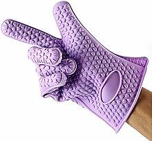 Eastlion Heart shaped Printed Anti Rutsch Silikon Handschuh Mikrowellenherd Handschuh Backen Werkzeuge Fünf Finger Slots 1 Paar Lila