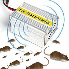 Easy Eagle Auto Ultraschall Schädlingsbekämpfer, Insektenabwehr Elektronisch Nagetierbekämpfung zum Abstoßend Mäuse Chipmunks Martens Maulwurf (Silber, 1 Stück)