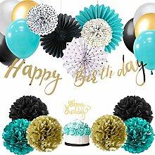 Easy Joy HAPPY BIRTHDAY Banner Torten-Topper Geburtstag Dekoration Kit Anniversar (Türkis)