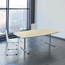 EASY Konferenztisch Bootsform 200x100 cm Ahorn