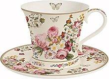 Easy Life 1357 BLOC Eine Tasse mit Untertasse, Porzellan, Mehrfarbig, 17.5 x 17.5 x 11 cm