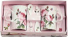Easy Life 314 RMR 2 Becher Set mit Löffeln, Porzellan, Mehrfarbig, 30 x 15 x 8 cm