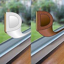 easy life Fenster-Dichtung 48 Meter selbstklebende Gummi-Dichtung für Fenster / Türen verschiedene Profile aus EPDM-Gummi, Farbe:Braun, Profil:D-Profil
