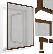 easy life INSEKTENSCHUTZ FENSTER easyLINE 100 x 120 cm braun ALU Rahmen - weitere Größen und Farben wählbar