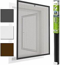 easy life Insektenschutz Fenster easyLINE Fliegengitter mit ALU Rahmen Insektenfenster ohne Bohren und Schrauben individuell kürzbares Fliegennetz mit hochwertigen Aluminium Profilen, Farbe:Anthrazit, Größe:100 x 120 cm