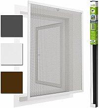 easy life Insektenschutz Fenster easyLINE Fliegengitter mit ALU Rahmen Insektenfenster ohne Bohren und Schrauben individuell kürzbares Fliegennetz mit hochwertigen Aluminium Profilen, Farbe:Weiß, Größe:130 x 150 cm