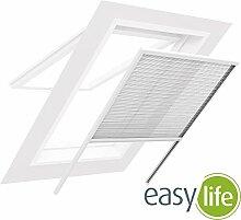 easy life Insektenschutz Plissee für Dachfenster 100 x 160 cm in Weiß Fliegengitter mit Alu-Rahmen Dachfensterplissee