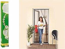 easy life Insektenschutz Tür Vorhang 125 x 240 cm Polyester Anthrazit Lamellenvorhang mit PVC Klemmleiste Fliegenvorhang