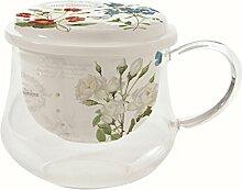 Easy Life Tasse aus Borosilikatglas mit Tee-Ei, Porzellan, Mehrfarbig, 11.5 x 9 x 10 cm