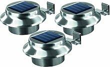 EASYmaxx Solar Dachrinnenleuchten Edelstahl 3er-Se