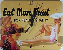 Eat More Fruit Blech Wanduhr Stabil NEU 26x20cm U531