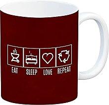EAT, Sleep, Love, Repeat Kaffeebecher mit rotem