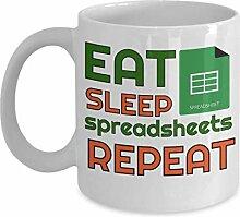 Eat Sleep Spreadsheets Repeat Mug, 11 oz Ceramic