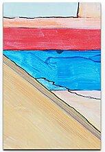Eau Zone Wandbild auf Leinwand 90x60cm Abstraktes Bild mit roten orangen und blauen Elementen