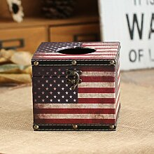 "eazyhurry American Style Plateau Peep Toe Holz Taschentuchbox Aufbewahrungsbox Jewel Box für Home Dekoration, holz, Muster 3, 5.5""""L X 5.5""""W X 4.9""""H"