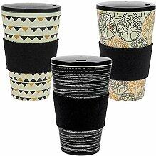 ebos 3er-Set Bambus Coffee-to-Go-Becher |
