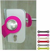 ebos Türstopper aus 100% Wollfilz   Klemmschutz, Stopper, Türpuffer   Universell einsetzbar, passend für alle Türklinken   pink