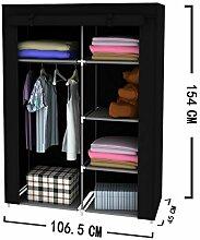EBS® Kleiderschrank Wäscheschrank Garderobenschrank Stoffschrank Faltschrank mit Regal Schwarz 154 x 45 x 105cm