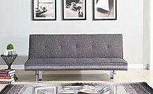 EBS My Furniture 3-Sitzer Sofa klappbar Schlafsofa Couch Lougue Grau Stoffsofa