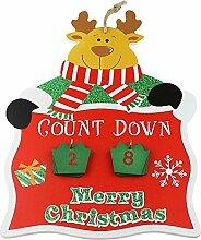eBuyGB Weihnachts-Adventskalender Rentier, Holz,