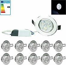 ECD Germany 10-er Pack LED Einbaustrahler 3W 230V