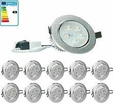 ECD Germany 10-er Pack LED Einbaustrahler 5W 230V