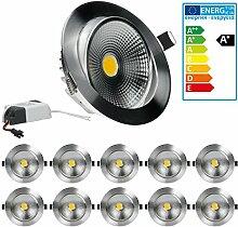 ECD Germany 10-er Pack LED Einbaustrahler COB 12W